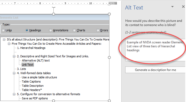 """Example of alt text being added to an image of NVDA Headings Elements List using the """"Edit Alt Text"""" function of Microsoft Word"""