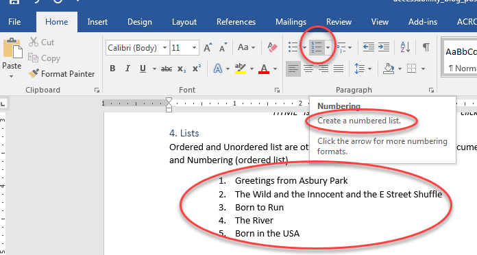 A numbered list of the first five Bruce Springsteen albums using the numbering option in MS Word 2016