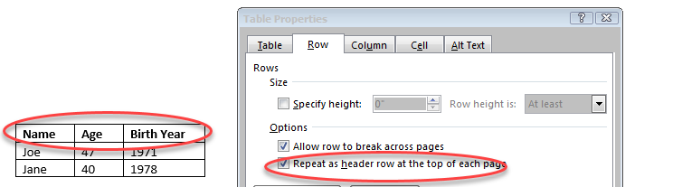 A simple table with the header row declared using MS Word Table Properties