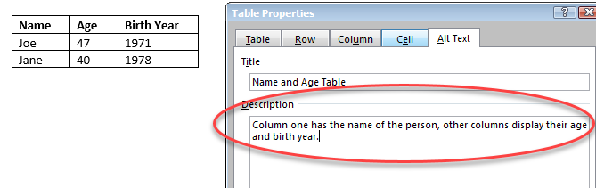 """Example of a table description via the """"Alt Text"""" tab in """"Table Properties"""" in MS Word 2016"""
