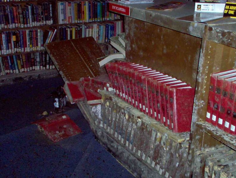 picture of New Orleans Public Library after Hurricane Katrina