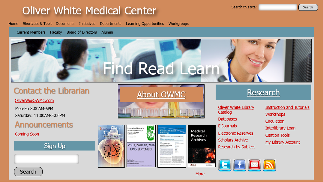 Before: Typical Medical Library Website