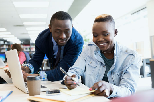 African American instructor and student