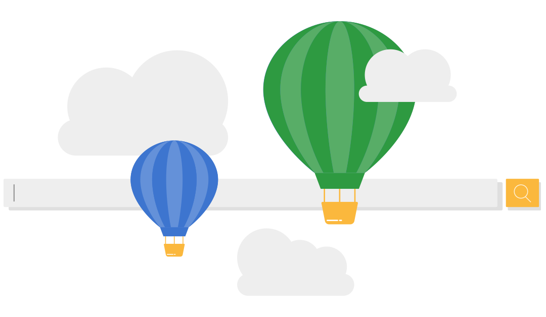 hot air balloons over a single search box