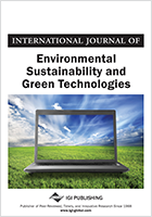 International Journal of Environmental Sustainability and Green Technologies Cover Image. The image is of a laptop placed on a field, the computer screen has a picture of the field.