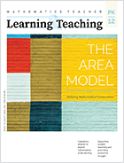 "Mathematics Teacher: Learning and Teaching pre-K - 12 cover. Blocks of color and the words ""The Area Model"""