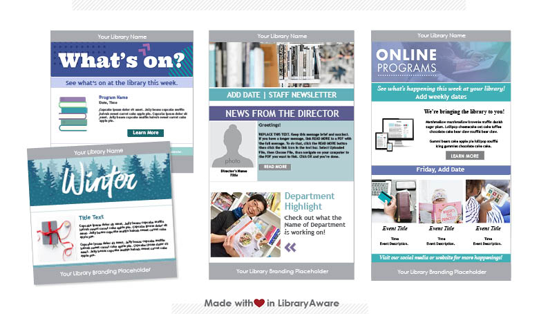 LibraryAware email newsletter templates