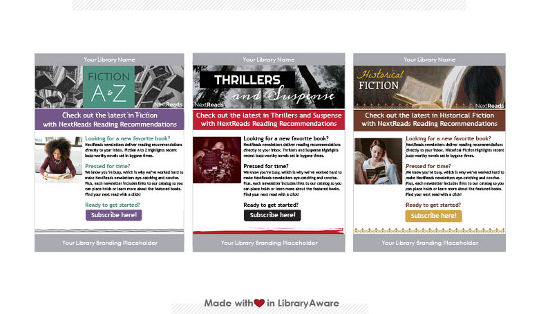LibraryAware templates for promoting readers' services like NextReads newsletters
