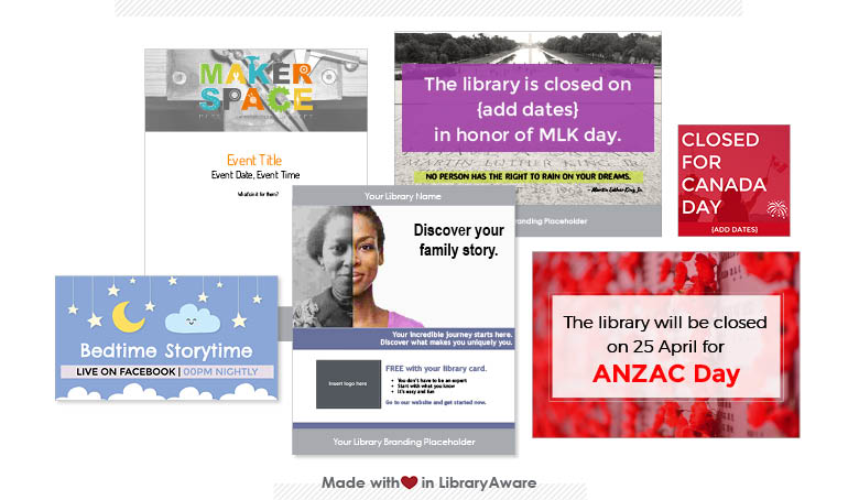 LibraryAware templates for announcing library events and closures by email, social, and in print