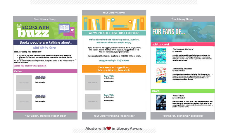 LibraryAware email templates for answering form-based RA questions and sending other book-based e-newsletters