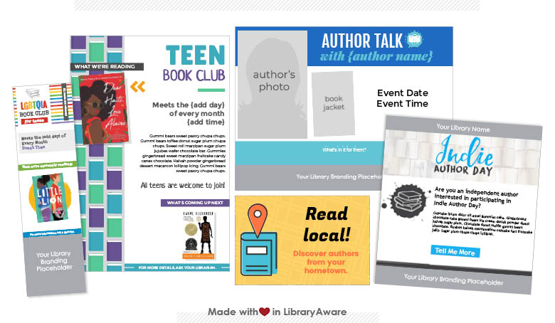 LibraryAware templates for book clubs and other book events