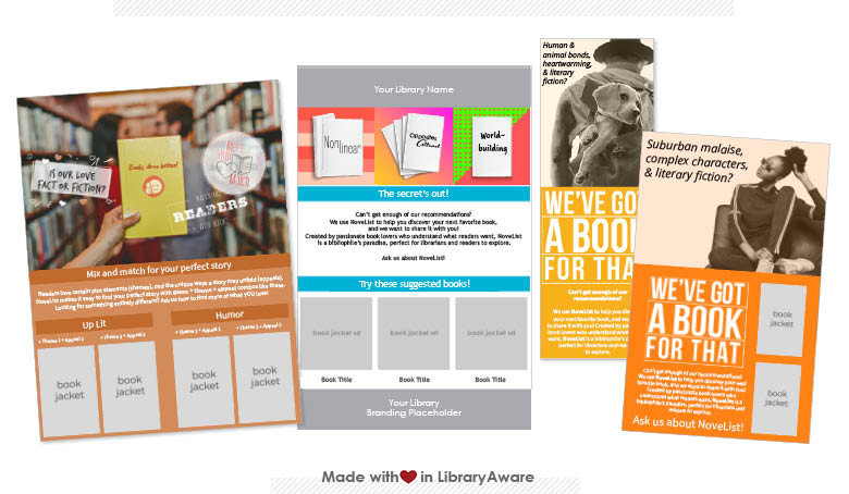 LibraryAware templates for promoting resources for readers like NoveList Plus