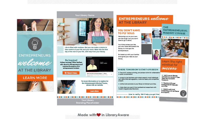 LibraryAware templates for promoting resources for entrepreneurs, such as Entrepreneurial Mindset Course