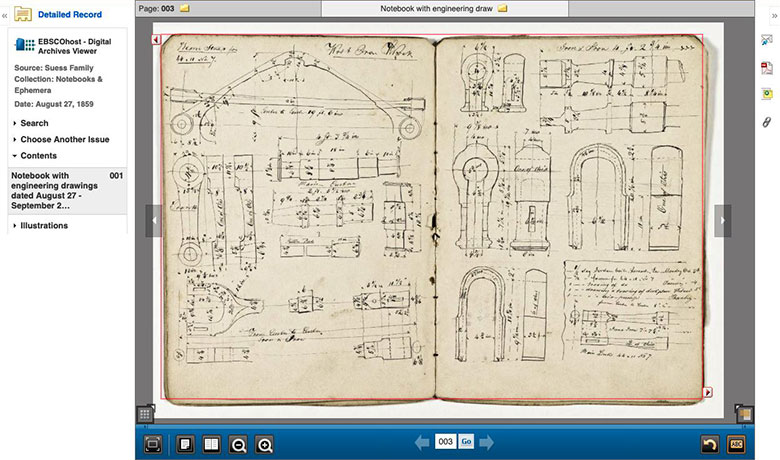 Engineering drawing from 1859 notebook of the Seuss Family Collection