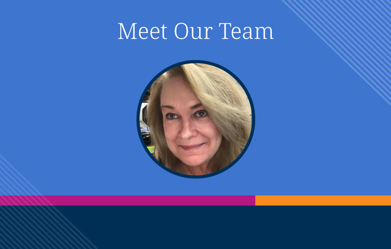 "Colorful background textures with Kathleen Walsh's headshot and text ""Meet Our Team"" above it"