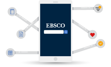 A phone with an EBSCO search box on the screen. There are search tools coming off of the phone like a Swiss Army Knife