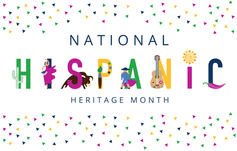 National Hispanic Heritage Month in colorful text