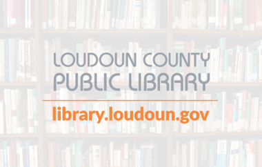 Book stacks with the name of Loudon County Public Library written along with their URL.
