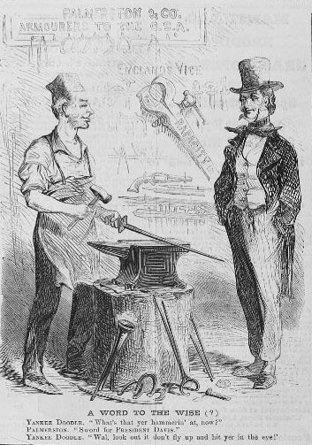 18th century cartoon blacksmith and customer talking