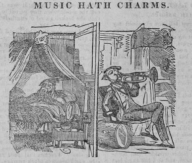 18th century cartoon of neighbor blowing horn