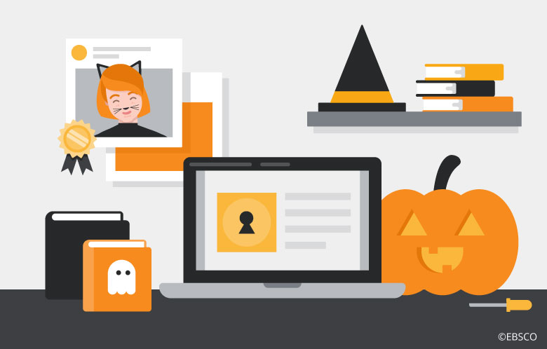 Illustration of a laptop surrounded by Halloween decorations