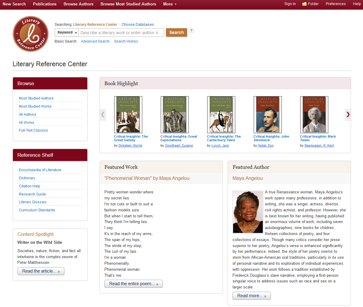 Literary Reference Center | EBSCO